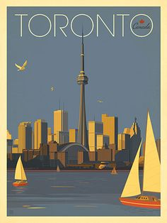 Canada: Toronto Sailboats - Our latest series of classic travel poster art is called the World Travel Poster Collection. We were inspired by vintage travel prints from the Golden Age of Poster Design (a glorious period spanning the to the City Poster, Poster Art, Retro Poster, Kunst Poster, Retro Print, Party Vintage, Vintage Ideas, Posters Canada, Tourism Poster