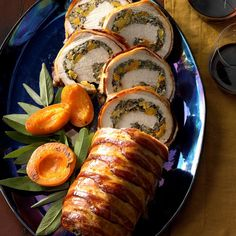 This recipe features wild rice and apricot stuffing tucked inside a tender pork roast. —Kim Rubner, Worthington, IowaWild Rice-Stuffed Pork Loin Recipe photo by Taste of whole boneless pork … Pork Tenderloin Recipes, Beef Tenderloin, Pork Loin, Pork Roast, Pork Recipes, Cooking Recipes, Recipies, Pork Ham, Pork Tenderloins