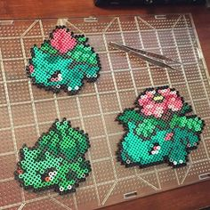 Bulbasaur family - Pokemon  perler beads by nickgalilei