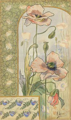 M. Laure. Decorative aux Coquelicots (Poppies).  c. 1900. Watercolor.