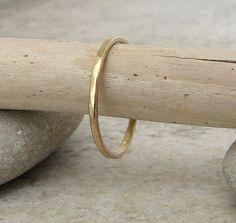 Gold Wedding Band Hammered Gold Wedding Ring 14k by SilverSmack