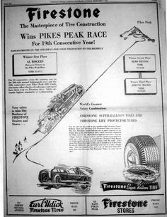 1948 Firestone newspaper ad for the Pikes Peak Hill Climb. Mentions Al Rogers victory with a time of Hill Climb Racing, Pikes Peak, Newspaper, Victorious, Journaling File System