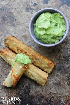 Black Bean Flautas with Avocado Dipping Sauce (Gluten-Free + Vegan)