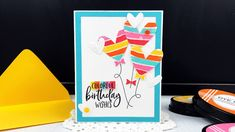 Just Dandy Studio: Ink to Paper - January Release Countdown - Day 1 Honey Bee Stamps, Colorful Birthday, Black Paper, My Stamp, Dandy, Birthday Wishes, I Card, Colorful Backgrounds, Card Stock