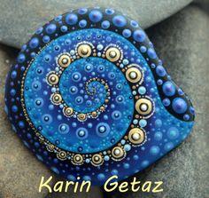 painted rocks, spiral mandala, blue mandala, meditation rock, painted stone…