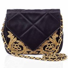 CHANEL Vintage Satin Beaded Envelope Flap Bag Purse Handbag Evening Black Gold