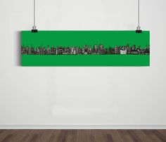 Poster Panorâmico World Skyline Dark Green / Artista Sergio Piancó
