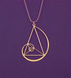 Golden spiral with golden triangle necklace- Fibonaci 24 Karat gold plated pendant- statement necklace