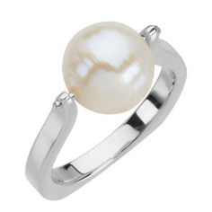 14kt White South Sea Cultured Pearl Ring Size 7