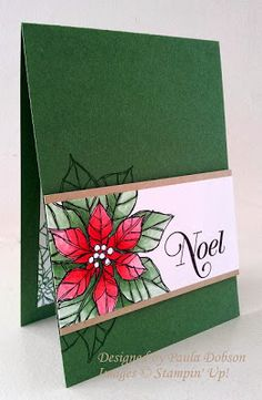 handmade Christmas card from SPREADING THE JOY ... deep green base ... line art poinsettia colored in red and green ... like the way the leaves cut off on the wide band are peeking out from underneath the band ... Stampin' Up!