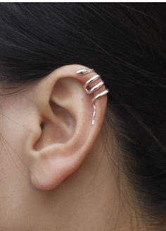 Ear Cuff Gold Cross Wire Non-pierced Cartilage Wrap Earring Fake Conch No Piercing Cuff Simple Earcuff Faux Pierced CrisCross - Custom Jewelry Ideas Snake Jewelry, Ear Jewelry, Cute Jewelry, Jewelry Accessories, Jewellery, Cuff Earrings, Clip On Earrings, Snake Earrings, Cute Ear Piercings