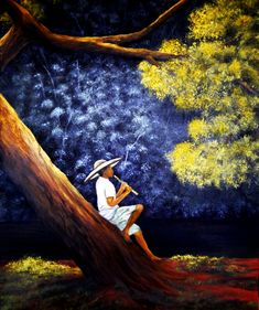 Quadro Pintura by Jorge Marcovich  Flautista na Floresta - Flautist in the Forest Oil Painting