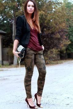 Camo pants, black jacket and high heels