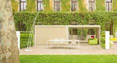 Aluminium and wood gazebo CABANNE MODULO QUADRO by Paola Lenti design Bestetti Associati Studio