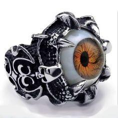 Ocelový prsten - Hnědé Oko / EVIL EYE / Brown (015-1) Odkaz na WEBSHOP: http://www.ocelovesperky4u.cz/ocelove-prsteny/prsteny-bez-kamene/ring-evil-eye-brown-015-steel-316l
