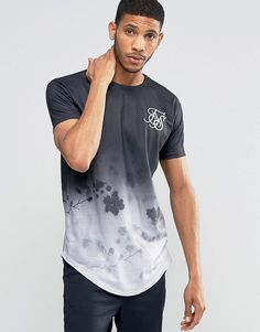 SikSilk+Floral+T-Shirt+With+Curved+Hem