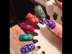 Marble or Granite nails / nail art using gel polish and Sharpie pens TUTORIAL - YouTube