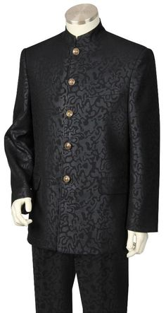 Men's 2 Piece Nehru Suit - Fancy Patterned Black | MensITALY Price: US $249
