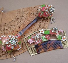 Vintage hair comb Japanese kanzashi hairpin geisha set enamel rhinestone