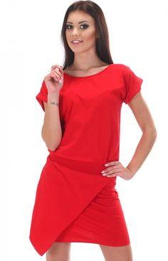 SIMMI S047 sukienka czerwona Dzianinowa mini sukienka
