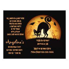 #Black Cat Bats & Moon Halloween Party Invitation - #saturday #saturdays