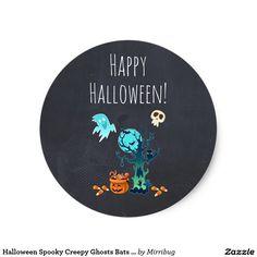 Happy Halloween Spooky Creepy Ghosts Bats Skulls & Candy sticker