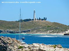 Top 10 Things to do in Perth #3 - Rottnest Island - Salmon Bay with Wadjemup Lighthouse in the background. Click on the image to find out more special places     to visit in Perth, Western Australia