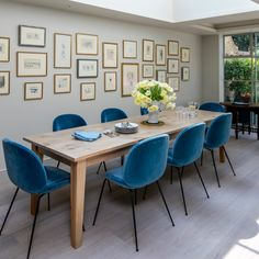 Looking for grey dining room ideas? Check out our pick of the best grey dining room ideas, designs and colour schemes for more inspiration Grey Dining Room Chairs, Long Dining Room Tables, Warm Dining Room, Dining Room Images, Kitchen Dining Living, Glass Dining Table, Dining Room Design, Living Room, Coloured Dining Chairs