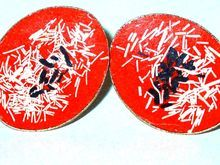 Red Enameled Earrings with Asian Script