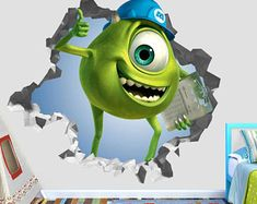Monster Inc Mike Wazowski Movie Wall Decal - Monsters Inc Smashed Sticker - Movie Kids Smashed Ar Monsters Inc Nursery, Mike From Monsters Inc, Mike Wazowski, Minions, Wall Decals, Handmade Gifts, Movies, Fictional Characters, Etsy