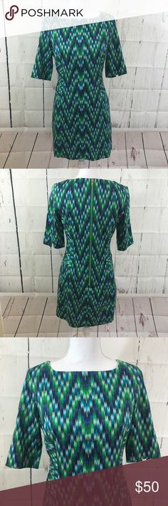 "Milly of NY forest green full zipper dress In EUC The original Milly of New York 3/4 sleeve dress in beautiful forest green print. Looks even better in person. Lining underneath. Measurements: length 33"" armpit 16.5"" sleeve 12.5"" Milly of New York Dresses Midi"