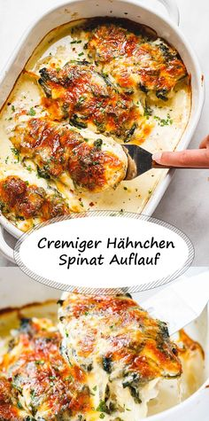 Spinach chicken casserole with mozzarella and cream cheese - # HähnchenA . - Spinach chicken bake with mozzarella and cream cheese – cheese # Chicken casserole - Chicken And Spinach Casserole, Spinach Stuffed Chicken, Mozzarella Chicken, Mozzarella Salat, Casserole Recipes, Food Inspiration, Carne, Chicken Recipes, Recipe Chicken