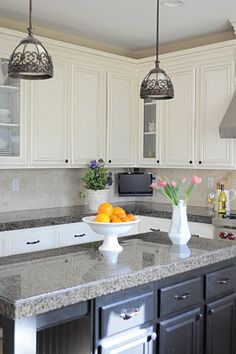How to paint kitchen cabinets white.  I LOVE THE IDEA of having a black island with white kitchen.  hmmm???