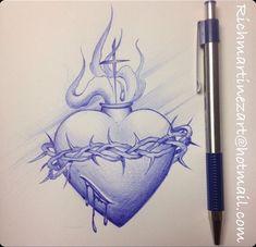 39 Best ideas for skull art tattoo heart Jesus Tattoo, Chicanas Tattoo, Herz Tattoo, Tattoo Drawings, Religion Tattoos, Kunst Tattoos, Body Art Tattoos, Sagrado Corazon Tattoo, Skull Couple Tattoo