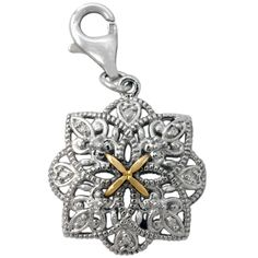 Diamond Charm Pendant Set in Sterling Silver & 18K Gold Accents | Cirque Jewels