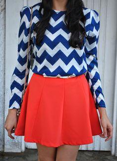 Look do dia: Saia laranja e blusinha estampada