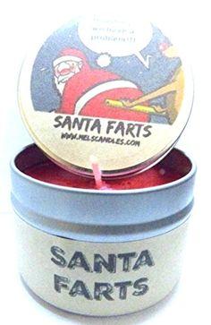 Santa Farts 4oz All Natural Soy Candle Tin Fun Christmas Novelty Candle