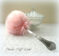 PINK Powder Puff Wand soft lolli puff with handle by BonnyBubbles
