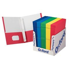 Oxford School Grade Twin Pocket Folders With Fasteners 100 Per Box 50764 Die Cut Business Cards, Business Card Holders, School Supply Box, 2 Pocket Folders, School Grades, Cute Notebooks, Back To School Supplies, School Essentials, Letter Size Paper