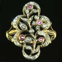 Antique ring with diamond rose cuts and red strass Victorian ring; period example of strass stones in a ring.