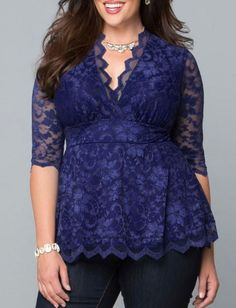 Trendy Plus Size Lace High Rise Blouse in Flare Hem