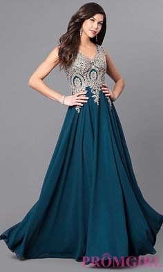f6d8eabdef Long V-Neck Prom Dress with Beaded Lace Applique
