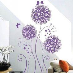 New Fashion Crie Vida Casa Decoração Wall Vinil Adesivo Decalques Mural Art Roxas Borboletas E Flores Padrão Em
