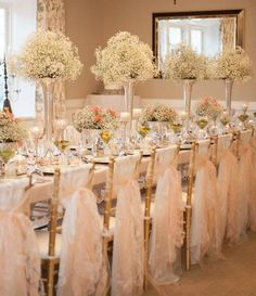 baby's breath elegant wedding reception table setup I love babys breath in all the centerpieces simple,romantic and elogant Wedding Reception Chairs, Reception Decorations, Wedding Centerpieces, Wedding Table, Wedding Venues, Reception Ideas, Inexpensive Centerpieces, Table Centerpieces, Wedding Favors