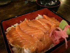 Salmon don at Kinsahi Japanese Restaurant. :) Nice.