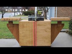 Miter Saws DIY Miter Saw Stand - ToolBox Divas - Using an old workbench I repurposed it to create a mobile miter saw stand that works with a 12 in. compound sliding miter saw. Miter Saw Stand Plans, Diy Miter Saw Stand, Mitre Saw Stand, Table Saw Workbench, Building A Workbench, Woodworking Saws, Woodworking Supplies, Woodworking Projects, Miter Saw Reviews