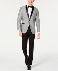 Kenneth Cole REACTION Mens Techni-Cole Shawl-Lapel Tuxedo with Hemmed Pant