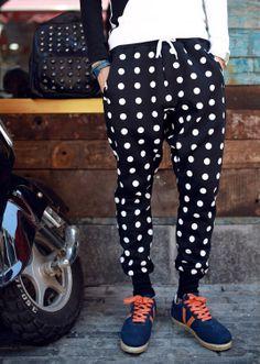 Street Style Polka Dot Print Drawstring Narrow Feet Polyester Men's Drop Crotch Pants-27.46 and Free Shipping| GearBest.com