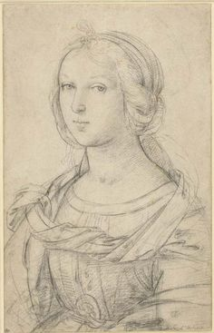 Raffaello - Female Saint - ca. Renaissance Kunst, Renaissance Artists, Renaissance Paintings, British Museum, Figure Drawing, Painting & Drawing, Drawing Drawing, Raphael Paintings, Drawing Sketches