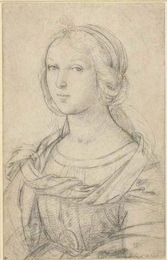 Raffaello - Female Saint - ca. Renaissance Artists, Renaissance Paintings, Portrait Sketches, Portrait Art, Figure Drawing, Painting & Drawing, Drawing Drawing, Raphael Paintings, Trois Crayons